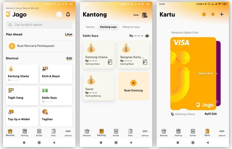 tampilan aplikasi bank jago